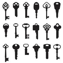 Black and White Silhouette of Key Shapes